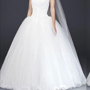Tulle Wedding Dress with corseted Satin bodice.